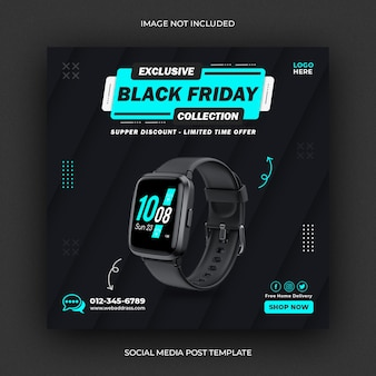 Szablon postu na instagramie w mediach społecznościowych smart watch