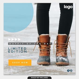 Szablon postu na instagramie zimowej sprzedaży