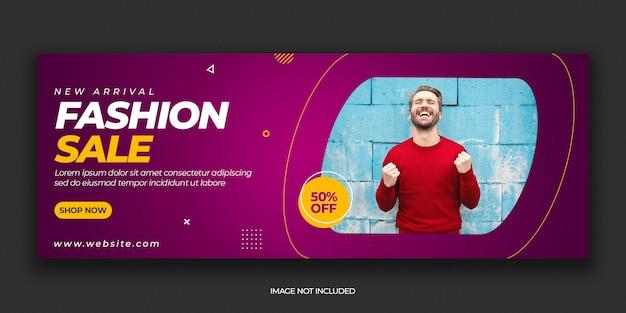 Szablon postu na okładkę na facebooku z nowoczesną sprzedażą mody premium psd