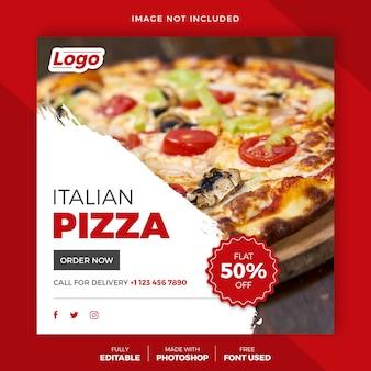 Szablon postu na pizzę na instagramie