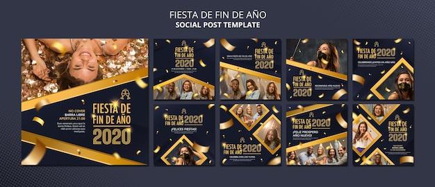 Szablon postu społecznościowego fiesta de fin de ano