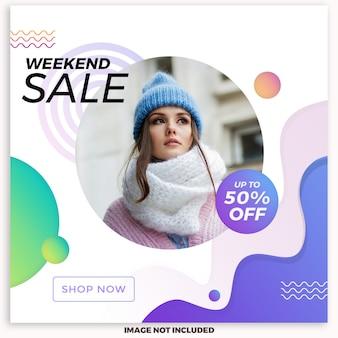 Szablon postu sprzedaż mediów społecznościowych na weekend