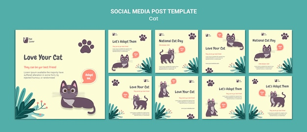 Szablon postu w mediach społecznościowych adopcji kota