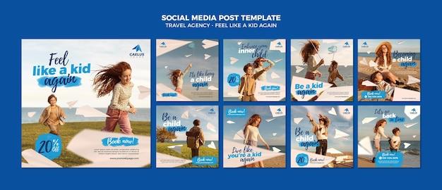 Szablon postu w mediach społecznościowych biura podróży