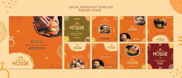 Szablon postu w mediach społecznościowych burger house