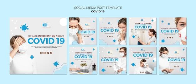 Szablon postu w mediach społecznościowych covid19