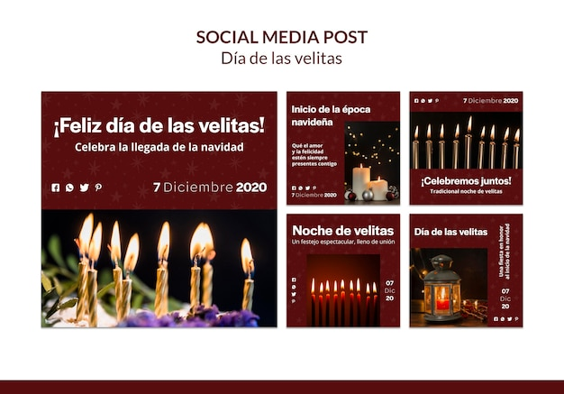 Szablon postu w mediach społecznościowych dia de las velitas
