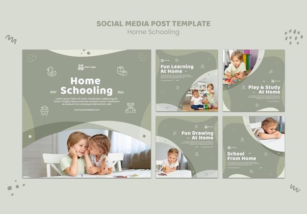 Szablon postu w mediach społecznościowych do nauki w domu