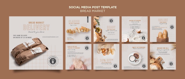 Szablon postu w mediach społecznościowych do pieczenia chleba
