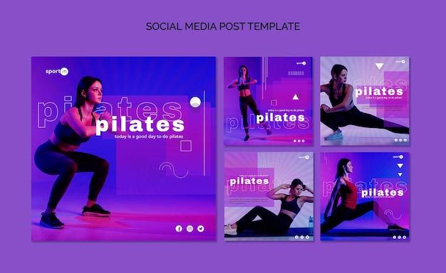 Szablon postu w mediach społecznościowych do treningu pilates