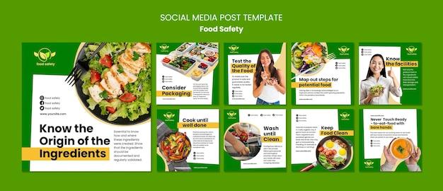 Szablon postu w mediach społecznościowych dotyczących bezpieczeństwa żywności