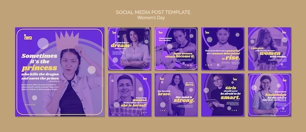 Szablon postu w mediach społecznościowych dzień kobiet
