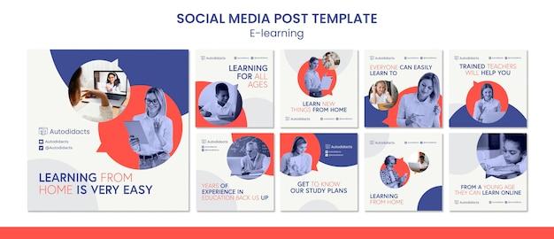Szablon postu w mediach społecznościowych e-learning