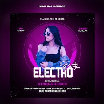 Szablon postu w mediach społecznościowych electro party