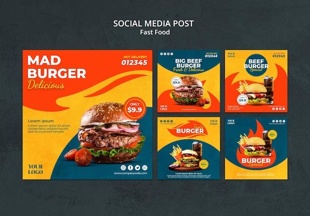 Szablon postu w mediach społecznościowych fast food