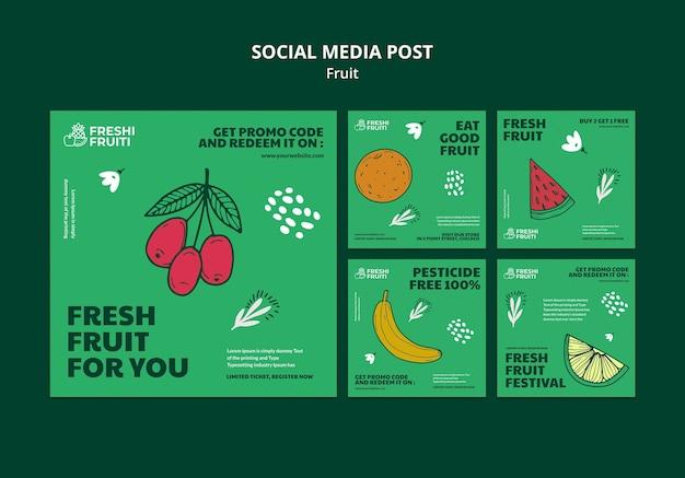 Szablon postu w mediach społecznościowych festiwalu owoców