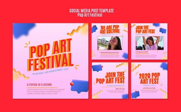 Szablon postu w mediach społecznościowych festiwalu pop-artu