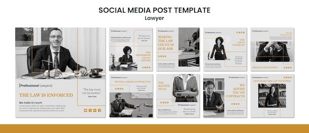 Szablon postu w mediach społecznościowych firmy prawniczej