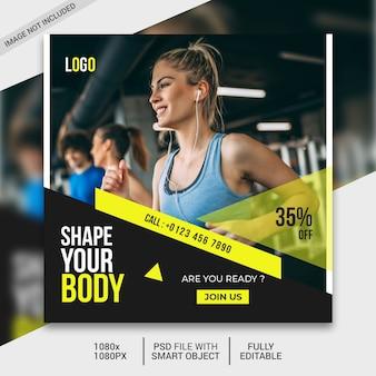Szablon postu w mediach społecznościowych fitness, post na instagramie