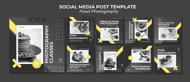 Szablon postu w mediach społecznościowych fotografii żywności