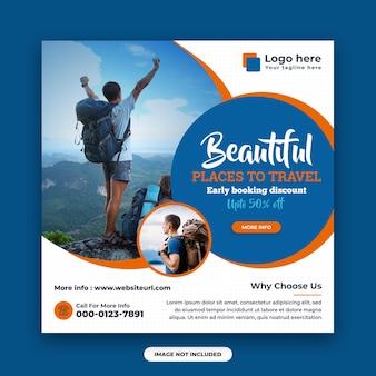 Szablon postu w mediach społecznościowych i banera internetowego z biura podróży
