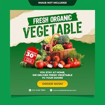 Szablon postu w mediach społecznościowych instagram z dostawą świeżych organicznych warzyw