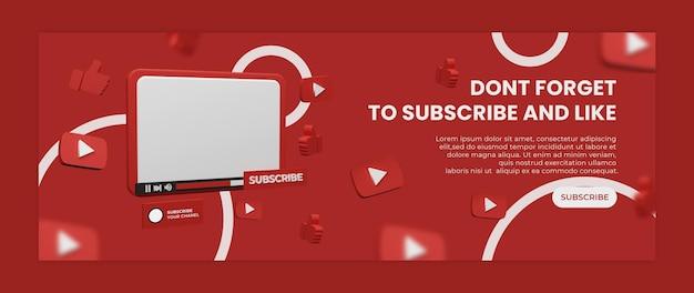Szablon postu w mediach społecznościowych kanał youtube premium psd