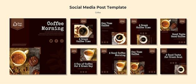Szablon postu w mediach społecznościowych kawy