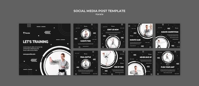 Szablon postu w mediach społecznościowych klasy karate
