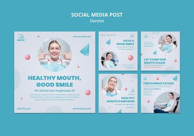 Szablon postu w mediach społecznościowych kliniki dentysty