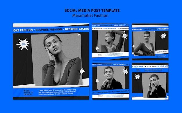 Szablon postu w mediach społecznościowych kolekcji mody