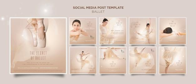 Szablon postu w mediach społecznościowych koncepcja baleriny