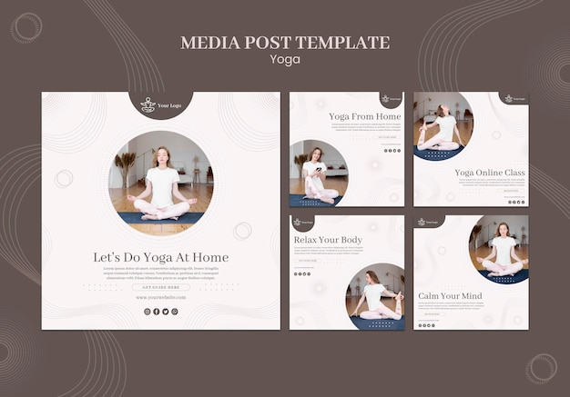 Szablon postu w mediach społecznościowych koncepcja jogi