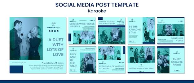 Szablon postu w mediach społecznościowych koncepcja karaoke