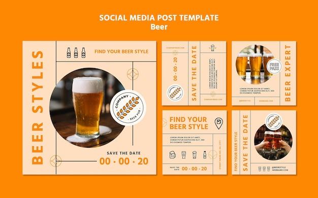 Szablon postu w mediach społecznościowych koncepcja piwa