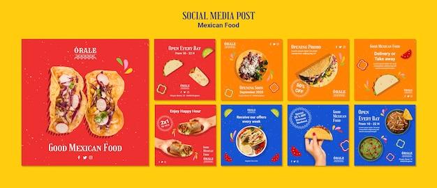 Szablon postu w mediach społecznościowych kuchni meksykańskiej