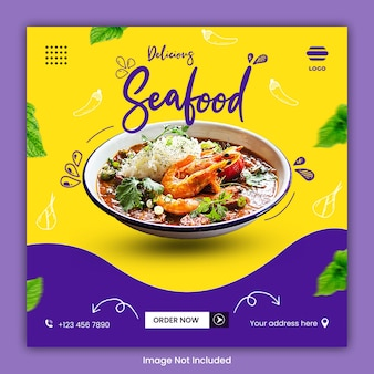 Szablon postu w mediach społecznościowych kulinarnych żywności