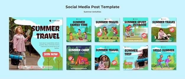 Szablon postu w mediach społecznościowych letnich podróży