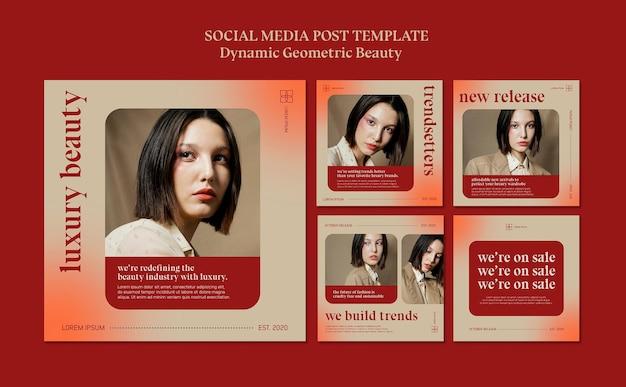 Szablon postu w mediach społecznościowych luksusowego sklepu kosmetycznego