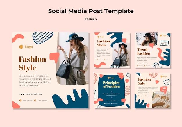 Szablon postu w mediach społecznościowych mody