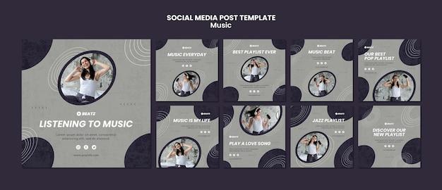 Szablon postu w mediach społecznościowych muzyki