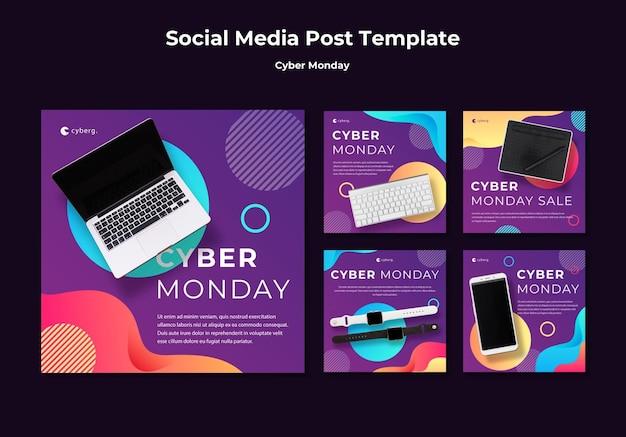 Szablon postu w mediach społecznościowych na cyber poniedziałek