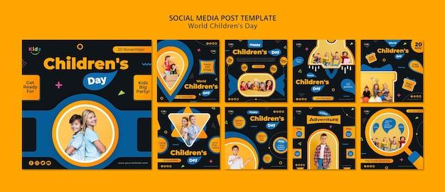 Szablon postu w mediach społecznościowych na dzień dziecka