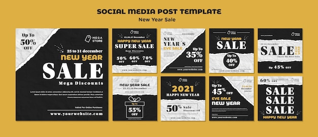 Szablon postu w mediach społecznościowych na nowy rok