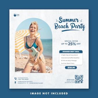 Szablon postu w mediach społecznościowych na wakacje