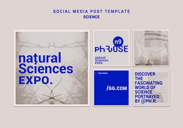 Szablon postu w mediach społecznościowych nauk przyrodniczych