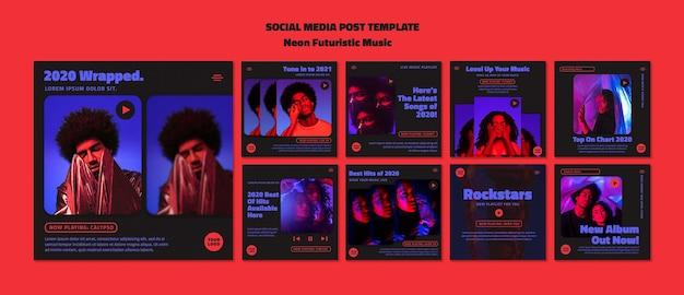 Szablon postu w mediach społecznościowych neon futurystycznej muzyki