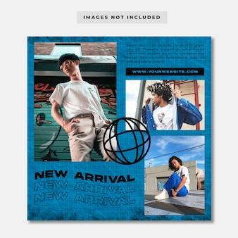 Szablon postu w mediach społecznościowych new arrival streetwear