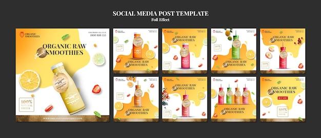 Szablon postu w mediach społecznościowych organicznych smoothies