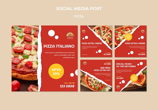 Szablon postu w mediach społecznościowych pizzy
